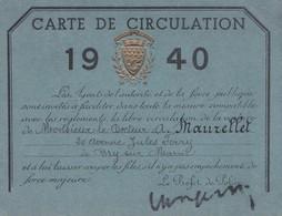 OCCUPATION ALLEMANDE A PARIS  LAISSER PASSEZ POUR UN MÉDECIN 1940 SIGNATURE DU PREFET DE POLICE - Documents Historiques