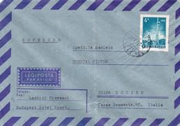 BUSTA VIAGGIATA  PAR AVION  - ESPRESSO - UNGHERIA - BUDAPEST- HOTEL SPORT - VIAGGIATA PER TORINO / ITALIA - Ungheria