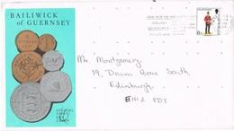33129. Carta GUERNSEY 1979. Slogan Collect Stamps. COINS - Guernsey