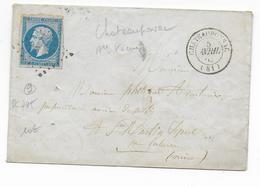 1862 - HAUTE VIENNE - LETTRE De CHATEAUPONSAC Avec PC 795 (FRAPPE FAIBLE) - IND 9 - Marcophilie (Lettres)