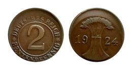 ALLEMAGNE 2 RENTENPFENNIG 1924 République Weimar FAUTEE (frappe Décalée) - [ 3] 1918-1933 : Weimar Republic
