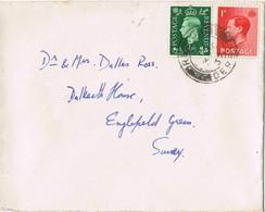 33133. Carta REPTON (Derbyshire) 1937 To Surrey - 1902-1951 (Kings)