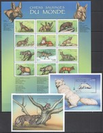 J877 CONGO FAUNA ANIMALS WILD DOGS & CATS SAUVAGES !!! 1SH+2BL MNH - Timbres
