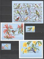 J880 CONGO FLORA & FAUNA BIRDS COLIBRI HUMMINGBIRDS !!! 1KB+2BL+1SET MNH - Colibris