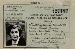 Château-Thierry - Carte Combattant Volontaire Résistance - Documents