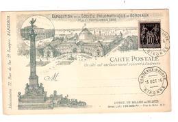 PR6545/ TP Sage S/CP Exposition Société Philomathique De Bordeaux Mai-Novembre 1895 Non Circulé C.Bordeaux Bourse 1895 - 1877-1920: Période Semi Moderne