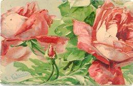 PAINTING OF ROSES, PINTURA DE ROSAS, PEINTURE DES ROSES. ART POSTALE, ARTE PORTAL NON CIRCULE -LILHU - Pintura & Cuadros