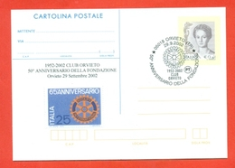 ROTARY INTERNATIONAL  - MARCOFILIA - ORVIETO 2002 - INTERO POSTALE- SOPRASTAMPA PRIVATA - Francobolli