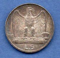 Italie -  5 Lires 1927 R-  Km #  67.1  --  état SUP - 1900-1946 : Victor Emmanuel III & Umberto II