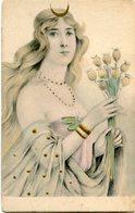 WOMAN WITH MOON AND FLOWERS, MUJER CON LUNA Y FLORES. ART POSTALE, ARTE PORTAL CPA CIRCA 1910's NON CIRCULE -LILHU - Pintura & Cuadros