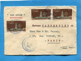 Marcophilie-lettre -Cote Des Somalis-cad Bleu Djibouti 1953 >Françe 3 Stamps N°280 - Côte Française Des Somalis (1894-1967)