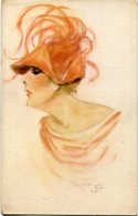 WOMAN WITH ORANGE HAT, MUJER CON SOMBRERO NARANJA FEMME AU CHAPEAU. ART POSTALE, ARTE PORTAL CPA NON CIRCULE -LILHU - Pintura & Cuadros