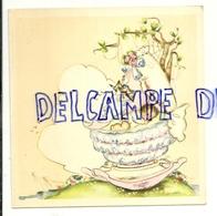 Carte Double De Naissance. 12/12 Cm. Bébé Dans Son Berceau, Oiseaux, Toile D'araignée. Coloprint 10558 - Geboorte