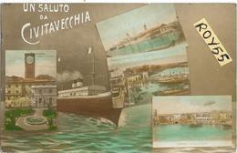 Lazio-civitavecchia Vedute Vedutine Primi 900 Nave Un Saluto Da Civitavecchia (formato/piccolo) - Civitavecchia