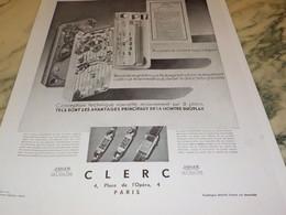 ANCIENNE PUBLICITE MONTRE JAEGER LECOULTRE VENDU CHEZ CLERC 1932 - Joyas & Relojería