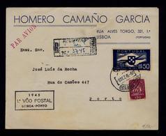REGISTERED Publicitary Cover (HOMERO CAMAÑO GARCIA)  Portugal 1945 1st Flight LISBOA - Porto Cachet #8104 - Poste Aérienne