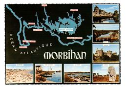 Carte Du Morbihan :  Quiberon - Port Haligen - Carnac- Vannes - Auray- Suscinio- La Trinité   (Ed. Jean Audierne) - Auray