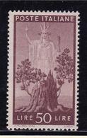 1945 Italia Italy Repubblica DEMOCRATICA 50 Lire Bruno Lilla MNH** Filigrana Lettere Firmato Biondi - 6. 1946-.. Repubblica
