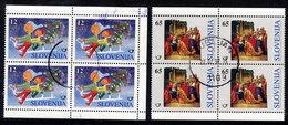 SLOVENIA 1996 Christmas Used Blocks Of 4.  Michel 171-72 - Eslovenia