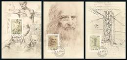 Liechtenstein (2019) Leonardo Da Vinci (500th Anniversary Of Death) - Set Of 3 Maxicards / Maximum Cards - Altri