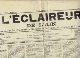L ECLAIREUR De L AIN Du 3 Novembre 1912 : La Verrerie Ouvrière , Femmes Et Question Sociale - Newspapers