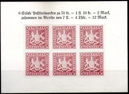 Württemberg,1957,block 70 Kr,Sonderdruck Von 1957, Motiv Württemberg 70 Kreuzer.,as Scan - Wurtemberg