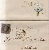 Año 1855 Edifil 40 4c Isabel II Carta Matasellos  Rejilla Y Mahon Baleares - Lettres & Documents