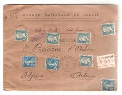PR6549/ TP Pasteur & Semeuse S/L.en Valeur Déclarée De 1000 Frs C.Longuyon 1926 V.Arlon Belgique - Marcophilie (Lettres)