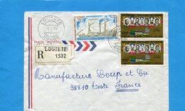 -Marcophilie-lettre REC-CONGO >Françe  Cad 1978 Loutete-  3 Stamps N° A228 Bateau Hamburg+A195 Union Douanière - Congo - Brazzaville