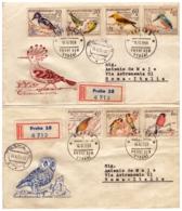 MG203)CECOSLOVACCHIA 1959 Serie Compl. BIRDS 5 Valori Su 2 FDC Raccomandate Viaggiate - Tschechoslowakei/CSSR