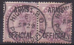 Grande Bretagne Timbre De Service Effigie Victoria 1896-1901 N°43 Paire Oblitéré - Officials