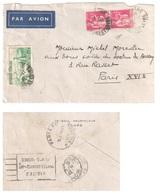 TOURS Lettre 20g AIR BLEU Tf 5,50 F Ob 9 11 1935 Verso Avion Paris Distribution XVI DECHIREE à Ouverture Paix Yv 289 301 - Poste Aérienne