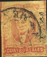 J) 1861 MEXICO, HIDALGO, 4 REALES RED, CIRCULAR CANCELLATION, MEXICO GOTHIC, MN - Mexico