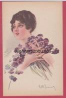 ILLUSTRATEUR---SIMONETTI--amadeo---Serie De 6 Cpa Femmes Avec Bouquet De Fleurs - Autres Illustrateurs