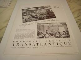 ANCIENNE PUBLICITE VOYAGE AUJOURD HUI COMME HIER TRANSATLANTIQUE 1955 - Publicités