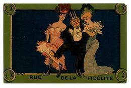 """CPA..style Xavier Sager. """" Rue De La Fidèlité """".prostituées.prostitution. érotisme.érotique.risque.                .E.50 - Illustrateurs & Photographes"""