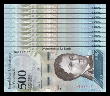 Venezuela Lot Bundle 10 Banknotes 500 Bolivares 2017 Pick 94b SC UNC - Venezuela