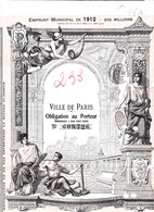 EMPRUNT MUNICIPAL VILLE DE PARIS 1912 - Banque & Assurance