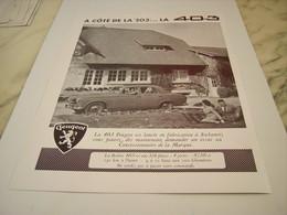 ANCIENNE  PUBLICITE MODELES 403   DE PEUGEOT 1955 - Voitures