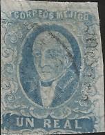 J) 1861 MEXICO, HIDALGO, UN REAL BLUE, MEXICO GOTHIC, MN - Mexico