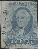 J) 1861 MEXICO, HIDALGO, UN REAL BLUE, PLATE II, MEXICO GOTHIC, MN - Mexico