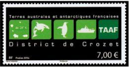 """TAAF YT 709  """" Logo District Du Crozet """" 2014 Neuf** - Ungebraucht"""