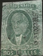 J) 1861 MEXICO, HIDALGO, 2 REALES, GREEN, MEXICO GOTHIC, PLATE II, MN - Mexico
