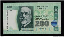 """200 DRACHMEN Greece"", Entwurf, Beids. Druck, RRRR, UNC, Ca. 130 X 72 Mm, Essay, Trial, UV, Wm, Serial No., Holo - Griekenland"