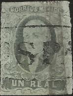 J) 1861 MEXICO, HIDALGO, UN REAL GREEN, TUSPAN (OUT OF MEXICO) MN - Mexico