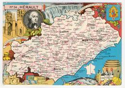 34 - Hérault     Carte Géographique  Par J.P. Pinchon - Landkaarten