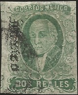 J) 1861 MEXICO, HIDALGO, 2 REALES GREEN, PLATE II, MEXICO GOTHIC, MN - Mexico