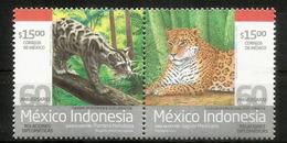 Panthère Nébuleuse De Bornéo & Jaguar Du Mexique, émission Conjointe Indonésie-Mexique. 2 Timbres Neufs ** - Big Cats (cats Of Prey)