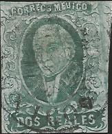 J) 1861 MEXICO, HIDALGO, 2 REALES GREEN, THIN PAPER, CIRCULAR CANCELLATION, MEXICO GOTHIC, MN - Mexico