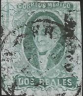 J) 1861 MEXICO, HIDALGO, 2 REALES GREEN, MEXICO DISTRICT, CIRCULAR CANCELLATION, MN - Mexico